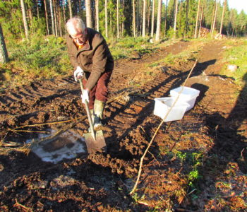 Johan de Faire - collecting soil samples for oil spill in forestry study