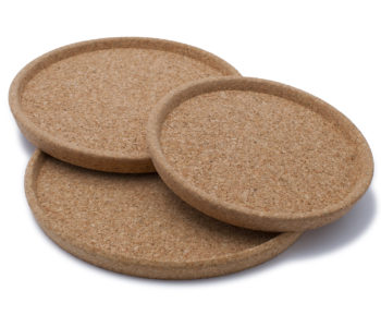 Coasters made from cork granules